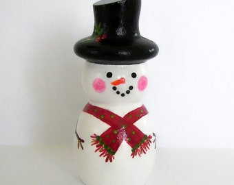 Hand Painted Love Boxes Blushing Peg Doll Snowman Wood