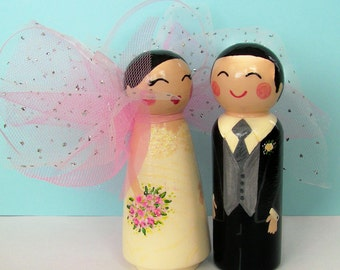 Hand Painted Love Boxes Custom Wedding Fairy Bride Groom Cake Topper Peg Dolls Wood