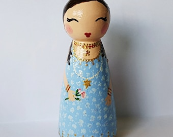 Hand Painted Love Boxes Queen Esther Purim Peg Doll Wood