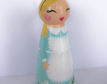 Hand Painted Love Boxes Alice in Wonderland Peg Doll Wood