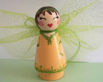 Hand Painted Love Boxes CUSTOM Woodland Fairy Peach Coral Wood Peg Doll