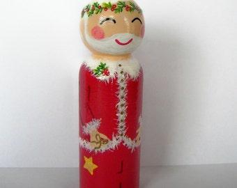 Hand Painted Love Boxes Santa Claus Christmas Peg Doll Wood