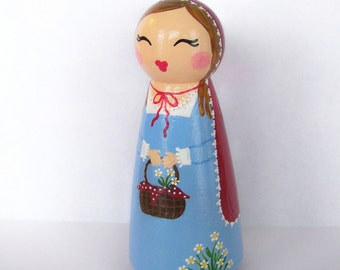 Hand Painted Love Boxes Little Red Riding Hood Peg Doll Wood