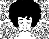 Line of Flowers Art, Natural Hair Portrait Print Illustration, Black and White African American Art, Black and White Line Drawing