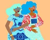 Spring In Our Step Art Print, Best Friends Illustration, Sisterhood Art, African American Wall Art, Feminism Art, Womanism Art, Sorority Art