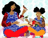 Copycat Art Print, Colorful Family Illustration, Sisters Art, Mother and Daughter Print, African American Art