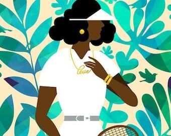 Field Day Art Print, Tennis Poster, Female Tennis Player Print, Women's Tennis Art, African American Art, Sports Art, Art by Tabitha Brown