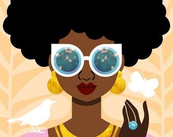 Afro Puffs Art Print, Fashion Art, Black Hair Art, Natural Hair Art, African American Art, Summer Girl Art by Tabitha Brown