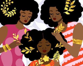 Adornment Art Print, Natural Hair Art, African American Art, Hair Ornaments Art, Black Illustration by Tabitha Brown, 12x12 Print