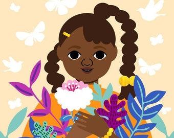November Girl Art Print, Childrens Art, Gardening Art, African American Wall Art, Little Black Girl Art, Orange Wall Art, Autumn Art Print