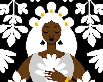 Nouveau Black and White Art Print, Art Nouveau Poster, Queen Print, Black Queen, Mucha Art Print, African American Art, Art by Tabitha Brown