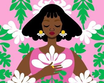 Nouveau Pink Art Print, Art Nouveau Print, Soft Cottage Print, Vintage Style Fashion Art, Mucha Art Print, Locs Art, Art by Tabitha Brown