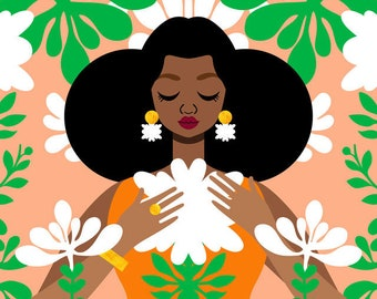 Nouveau Orange Art Print, Nigerian Print, Art Nouveau Print, African Art, Vintage Style Fashion Art, Mucha Art Print, Afro Puff Art