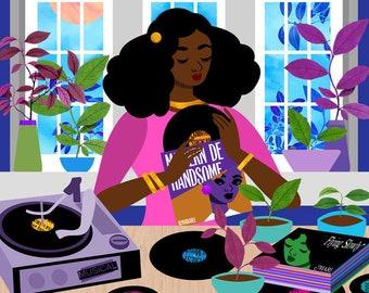Record Player Art Print, Urban Loft Illustration, Music Lover Print, House Plant Art Print, Black Girl Art, Nature Lover Art, 12x12 Print