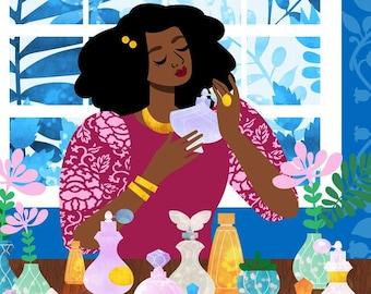 Boudoir Art Print, Perfume Art, Fragrance Print, Bedroom Print, Black Girl Art, Natural Hair Art, Blue Bedroom Art, 12x12 Print
