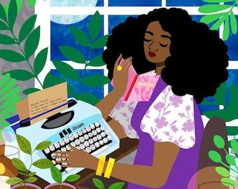Typewriter Art Print, Cottage Art, Moonlight Print, House Plant Print, Black Girl Art, Letter Writer Art, Candle Light Art, 12x12 Print