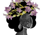 Wildflower Crown Art Print (0002), Woodland Fairy Silhouette with Purple Flower Crown Wall Art, 5x7, 8x10, 11x14, 12x12