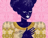Sweater Art Print, Fashion Print Illustration, Women Fashion Art, African American Art, Natural Hair Art, Dark Purple Silhouette,