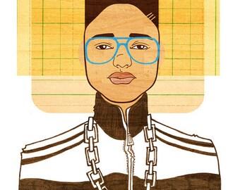 Yearbook Randall Art Print, (1980s Hip Hop Art, African American Breakdancer Illustration)