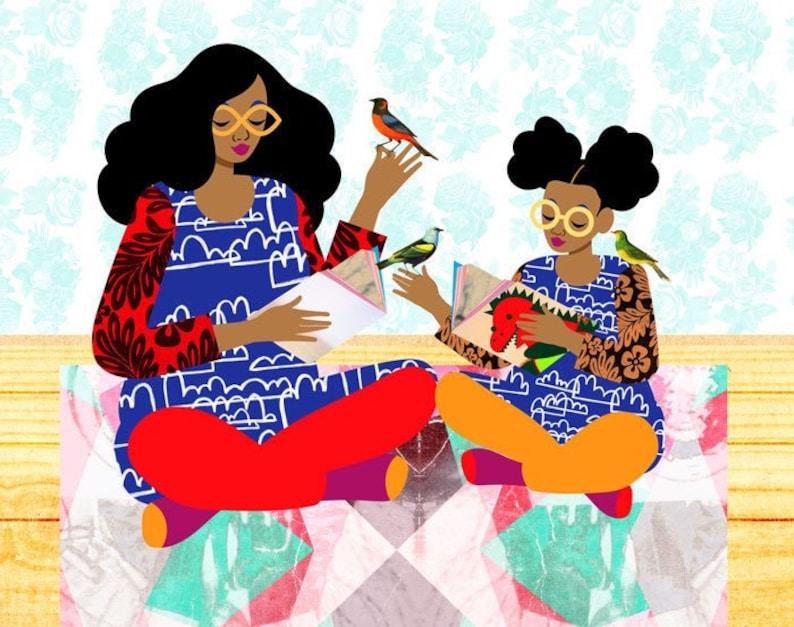 Copycat Art Print Colorful Family Illustration Sisters Art image 0