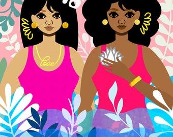 Above Water Art Print, Underwater Art, African American Art, Swimming Art, Nature Lover Art, Natural Hair Art, Tabitha Brown Art