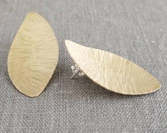 Gold Post Statement Earrings, Brass Leaf Earrings, Matte Gold Stud Earrings, Brass and Silver Jewelry, Mid-century Earrings