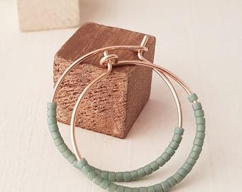 """Beaded Gold Hoops Earrings, Faded Blue Beads, 14K Gold Filled Hoops, 1"""" Hoops, Gold Wire Hoop Earrings, Contemporary Jewellery"""