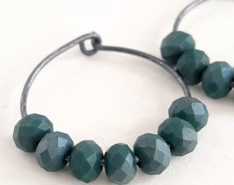 Silver Wire Hoops, Beaded Wire Hoop Earrings, Oxidized Silver Dark Blue Earrings, Contemporary Hoops, Bold Earrings