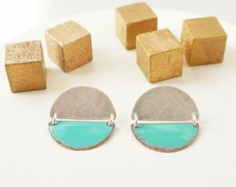 Statement Post Earrings, Enamel and Silver Studs, Mid-century Modern Jewelry, Bold Earrings, Contemporary Design