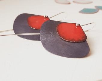 Silver Dangle Earrings, Oxidized Red Enamel Jewelry, Statement Silver Earrings, Lightweight Long Earrings, Minimalist Design Drop Earrings