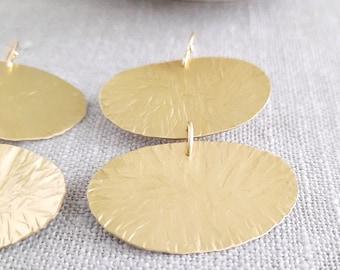 Dainty Gold Earrings, Bold Dangle Earrings, Big Brass Earrings, Gold Plated Sterling Silver, Contemporary Jewelry, Mid-century