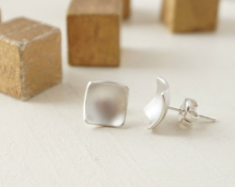 Square Silver Studs, Sterling Silver Post Earrings, Minimalist Square Earrings, Contemporary Post Earrings, Everyday Silver Earrings