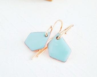 Geometric Dangle Earrings, Robin's Egg Enamel Earrings, Gold Plated Drop Earrings, Minimalist Artisan Jewelry, Everyday Dangle Earrings