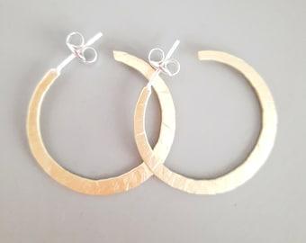 """Large Gold Hoop Earrings, Handmade Jewelry, Big Hoop Earrings, Flat Golden Hoops, 1.8"""" Gold Hoops"""