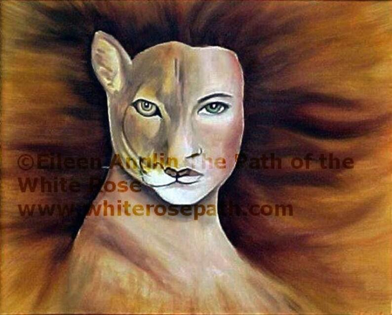 Cat's Eye Cougar Spirit  Animal Totem Energy Art Print image 0
