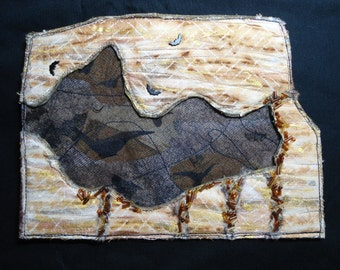 Nightly Passage 2 - Series Art Quilt OOAK Original Quilting Arts Magazine Wall Hanging Bats Caves Bat Fiber
