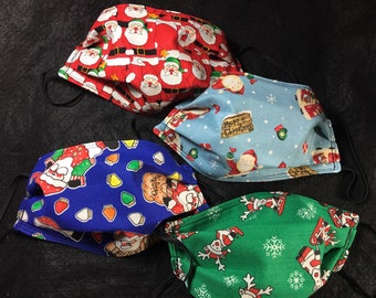 Set of 4 fabric face masks-pleated, elastic loops, Christmas, Santa Claus, Saint Nicholas, Reindeer, December red, green, blue FREE SHIPPING