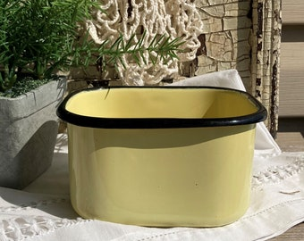 Vintage Yellow Enamelware Refrigerator Dish-Yellow Enamel Refigerator Box-Vintage Metal Storage Container