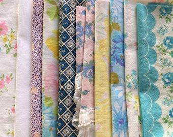 Vintage Fabric Scraps Bundle-Slow Stitching Floral Cutter Fabric Lot-Sheets Quilt Fabric Remnants