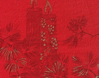 Vintage Red Christmas Tablecloth-MCM Christmas Printed Gold Pinecone Tablecloth-Mid Century Christmas Tablecloth