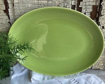 Vintage Homer Laughlin Rhythm Chartreuse Green Serving Platter-Mid Century Oval Platter
