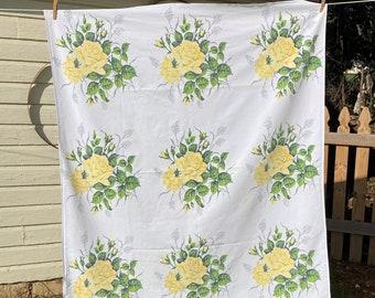 Wilendur Yellow Rose Tablecloth-Vintage Royal Rose Floral Tablecloth-Vintage Yellow Floral Tablecloth