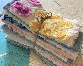 Vintage Chenille Fabric Scraps Lot-Slow Stitching Floral Cutter Fabric Lot-Chenille Floral Quilt Fabric Remnants