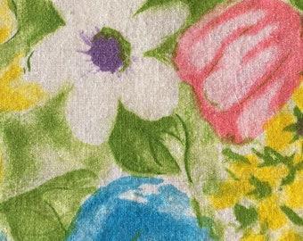 Vintage Large Floral Print Fabric-Watercolor Print Fabric Yardage-70s Floral Pattern Apparel Fabric