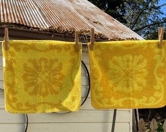 Vintage Pequot Floral Wash Cloths-Pequot Vintage Bath Towel-Jacquard Pattern Washcloths