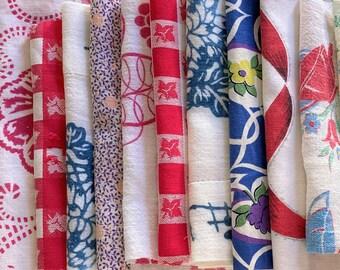 Vintage Fabric Scraps Bundle-Slow Stitching Floral Cutter Tablecloths-Vintage Floral Quilt Fabric