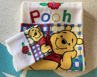 Vintage Disney Winnie the Pooh Bath Towel Set-NOS Disney Pooh Collectible Gift