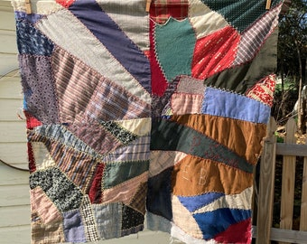 Antique Crazy Quilt Blocks-Hand Quilted Quilt Blocks-Vintage Cutter Quilt Squares