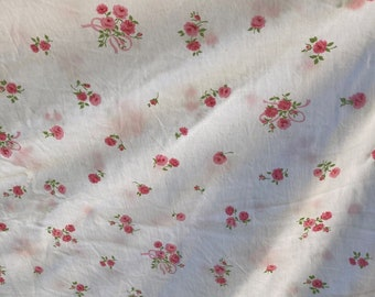 Vintage Cannon Monticello Floral Twin Flat Sheet-Pink Floral Percale Twin Sheet