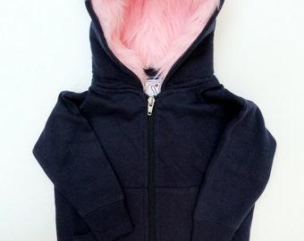 Toddler Unicorn Hoodie Size 2T White with pink great gift for kids rainbow mane custom jacket horned sweatshirt